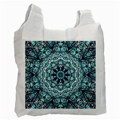 Green Blue Black Mandala  Psychedelic Pattern Recycle Bag (two Side)  by Costasonlineshop
