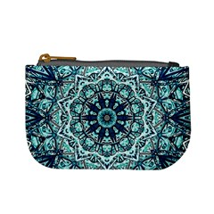 Green Blue Black Mandala  Psychedelic Pattern Mini Coin Purses