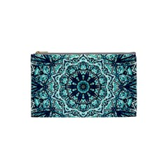 Green Blue Black Mandala  Psychedelic Pattern Cosmetic Bag (small)  by Costasonlineshop