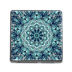 Green Blue Black Mandala  Psychedelic Pattern Memory Card Reader (square)