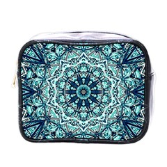 Green Blue Black Mandala  Psychedelic Pattern Mini Toiletries Bags
