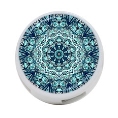 Green Blue Black Mandala  Psychedelic Pattern 4 Port Usb Hub (one Side) by Costasonlineshop