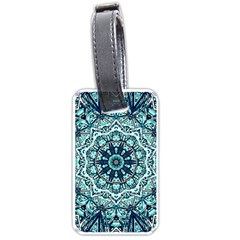 Green Blue Black Mandala  Psychedelic Pattern Luggage Tags (one Side)  by Costasonlineshop
