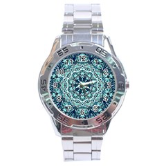 Green Blue Black Mandala  Psychedelic Pattern Stainless Steel Analogue Watch