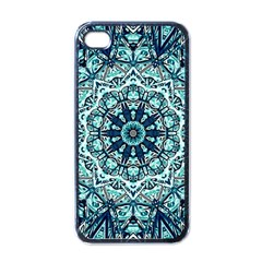 Green Blue Black Mandala  Psychedelic Pattern Apple Iphone 4 Case (black) by Costasonlineshop