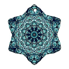 Green Blue Black Mandala  Psychedelic Pattern Snowflake Ornament (two Sides)