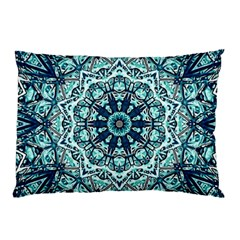 Green Blue Black Mandala  Psychedelic Pattern Pillow Case (two Sides) by Costasonlineshop