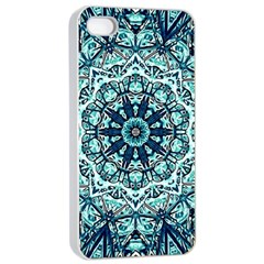 Green Blue Black Mandala  Psychedelic Pattern Apple Iphone 4/4s Seamless Case (white) by Costasonlineshop
