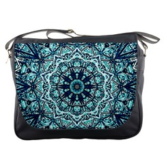 Green Blue Black Mandala  Psychedelic Pattern Messenger Bags by Costasonlineshop
