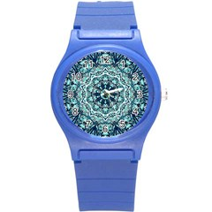 Green Blue Black Mandala  Psychedelic Pattern Round Plastic Sport Watch (s) by Costasonlineshop