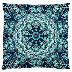 Green Blue Black Mandala  Psychedelic Pattern Large Cushion Case (two Sides)