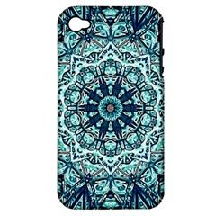 Green Blue Black Mandala  Psychedelic Pattern Apple Iphone 4/4s Hardshell Case (pc+silicone) by Costasonlineshop