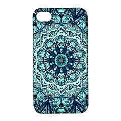 Green Blue Black Mandala  Psychedelic Pattern Apple Iphone 4/4s Hardshell Case With Stand by Costasonlineshop