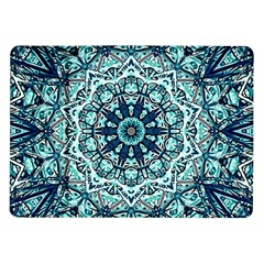 Green Blue Black Mandala  Psychedelic Pattern Samsung Galaxy Tab 10 1  P7500 Flip Case by Costasonlineshop