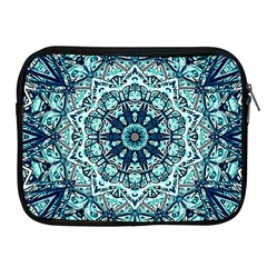 Green Blue Black Mandala  Psychedelic Pattern Apple Ipad 2/3/4 Zipper Cases by Costasonlineshop