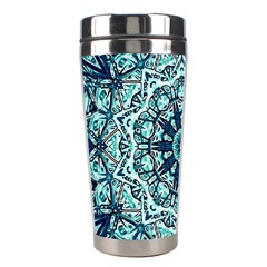 Green Blue Black Mandala  Psychedelic Pattern Stainless Steel Travel Tumblers by Costasonlineshop