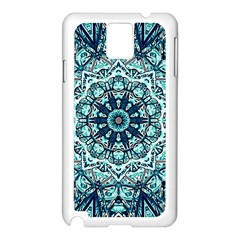 Green Blue Black Mandala  Psychedelic Pattern Samsung Galaxy Note 3 N9005 Case (white)