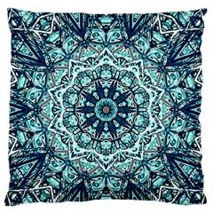 Green Blue Black Mandala  Psychedelic Pattern Large Flano Cushion Case (two Sides)