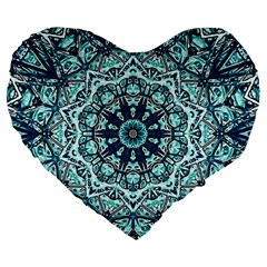 Green Blue Black Mandala  Psychedelic Pattern Large 19  Premium Flano Heart Shape Cushions by Costasonlineshop