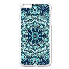 Green Blue Black Mandala  Psychedelic Pattern Apple Iphone 6 Plus/6s Plus Enamel White Case by Costasonlineshop