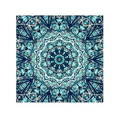 Green Blue Black Mandala  Psychedelic Pattern Small Satin Scarf (square)