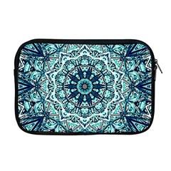 Green Blue Black Mandala  Psychedelic Pattern Apple Macbook Pro 17  Zipper Case by Costasonlineshop