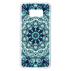 Green Blue Black Mandala  Psychedelic Pattern Samsung Galaxy S8 Plus White Seamless Case by Costasonlineshop