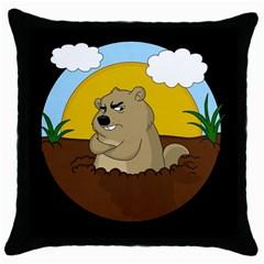 Groundhog Day Throw Pillow Case (black) by Valentinaart