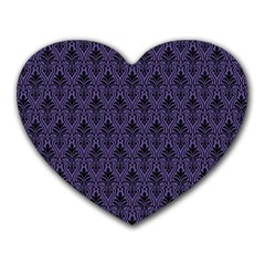 Color Of The Year 2018   Ultraviolet   Art Deco Black Edition Heart Mousepads by tarastyle