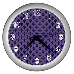Color Of The Year 2018   Ultraviolet   Art Deco Black Edition  Wall Clocks (silver)  by tarastyle