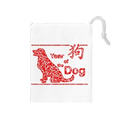 Year Of The Dog   Chinese New Year Drawstring Pouches (medium)  by Valentinaart