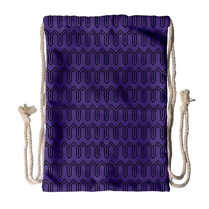 Color of the Year 2018 - Ultraviolet - Art Deco Black Edition Drawstring Bag (Large)