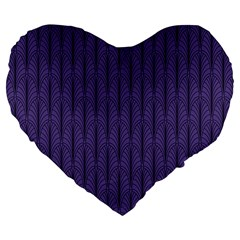 Color Of The Year 2018   Ultraviolet   Art Deco Black Edition Large 19  Premium Flano Heart Shape Cushions by tarastyle