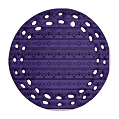 Color Of The Year 2018   Ultraviolet   Art Deco Black Edition Ornament (round Filigree) by tarastyle
