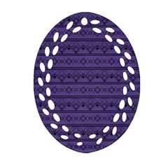 Color Of The Year 2018   Ultraviolet   Art Deco Black Edition Oval Filigree Ornament (two Sides) by tarastyle