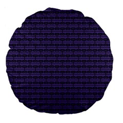 Color Of The Year 2018   Ultraviolet   Art Deco Black Edition Large 18  Premium Flano Round Cushions by tarastyle
