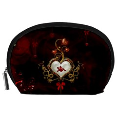 Wonderful Hearts With Dove Accessory Pouches (large)  by FantasyWorld7