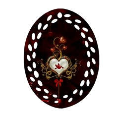 Wonderful Hearts With Dove Ornament (oval Filigree) by FantasyWorld7