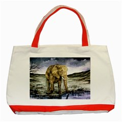Elephant Classic Tote Bag (red) by ArtByThree