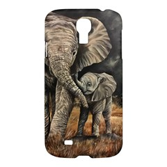 Elephant Mother And Baby Samsung Galaxy S4 I9500/i9505 Hardshell Case by ArtByThree
