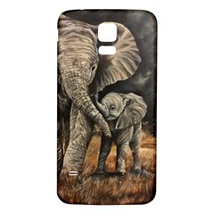 Elephant Mother And Baby Samsung Galaxy S5 Back Case (white) by ArtByThree