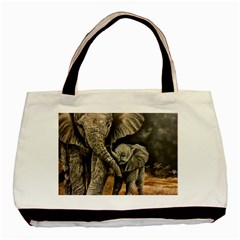 Elephant Mother And Baby Basic Tote Bag (two Sides) by ArtByThree