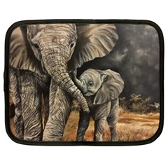 Elephant Mother And Baby Netbook Case (xl)  by ArtByThree