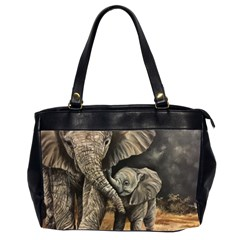 Elephant Mother And Baby Office Handbags (2 Sides)  by ArtByThree