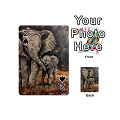 Elephant Mother And Baby Playing Cards 54 (mini)  by ArtByThree