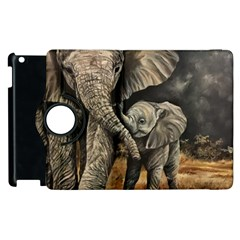 Elephant Mother And Baby Apple Ipad 2 Flip 360 Case by ArtByThree