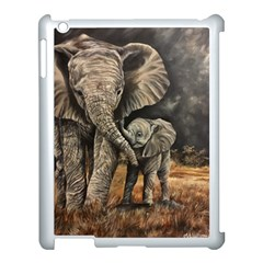 Elephant Mother And Baby Apple Ipad 3/4 Case (white) by ArtByThree