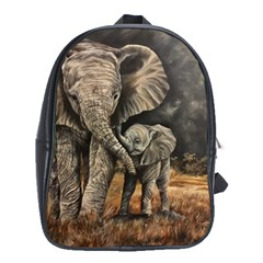 Elephant Mother And Baby School Bag (xl) by ArtByThree