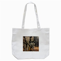 Elephant Mother And Baby Tote Bag (white) by ArtByThree