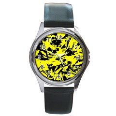 Yellow Black Abstract Military Camouflage Round Metal Watch
